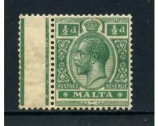 1921  MALTA - 1/2p. VERDE RE GIORGIO V° - NUOVO