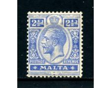 1921 - MALTA - 2,5p. OLTREMARE RE GIORGIO V° - CON LINGUELLA - LOTTO/25093