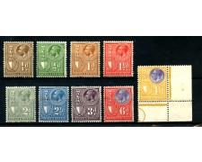 1930 - MALTA - RE GIORGIO POSTAGE E REVENUE 9 FRANCOBOLLI CON TRACCIA DI LINGUELLA - LOTTO/25105A