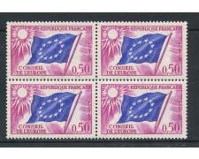 1963 - FRANCIA - 50 cent. CONSIGLIO D'EUROPA - QUARTINA NUOVI