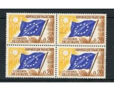 1963 - FRANCIA - 20 cent. CONSIGLIO D'EUROPA - QUARTINA NUOVI - LOTTO/25163