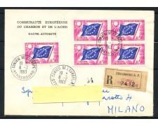 1963 - FRANCIA - SERVIZIO - 50 CENT. CONSIGLIO D'EUROPA - BUSTA RACCOMANDATA - LOTTO/25192