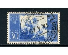 1948 - ITALIA REPUBBLICA - 30 LIRE COSTITUZIONE FILIGRANA NORMALE SINISTRA - USATO - LOTTO/25228