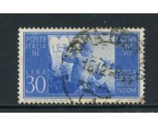 1948 - ITALIA REPUBBLICA - 30 LIRE COSTITUZIONE FILIGRANA NORMALE SINISTRA - USATO - LOTTO/25228A