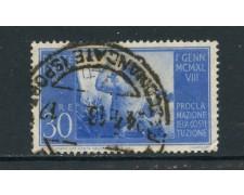 1948 - ITALIA REPUBBLICA - 30 LIRE COSTITUZIONE FILIGRANA NORMALE SINISTRA - USATO - LOTTO/25228B