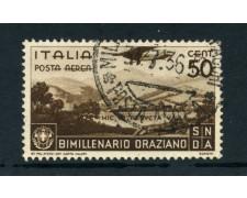 1936 - ITALIA REGNO - POSTA AEREA 50c.BIMILLENARIO ORAZIO - USATO - LOTTO/25245