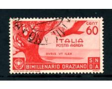 1936 - ITALIA REGNO - POSTA AEREA 60c.BIMILLENARIO ORAZIO - USATO - LOTTO/25246