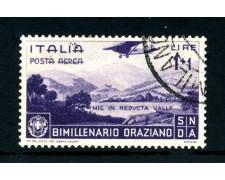 1936 - ITALIA REGNO - POSTA AEREA 1+1 LIRA BIMILLENARIO ORAZIO - USATO - LOTTO/25247