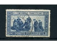 1926 - ITALIA REGNO - 1,25 LIRE SAN FRANCESCO DENT. 14 - USATO- LOTTO/25249