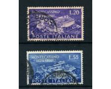1951 - REPUBBLICA - ABBAZIA DI MONTECASSINO 2v. - USATI - LOTTO/25266