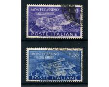 1951 - REPUBBLICA - ABBAZIA DI MONTECASSINO 2v. - USATI - LOTTO/25267