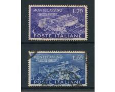 1951 - REPUBBLICA - ABBAZIA DI MONTECASSINO 2v. - USATI - LOTTO/25268