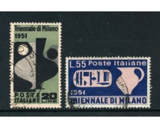 1951 - REPUBBLICA - TRIENNALE DI MILANO 2v. - USATI - LOTTO/25269