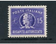 1949 - REPUBBLICA - 15 LIRE RECAPITO AUTORIZZATO - CON  TRACCIA LINGUELLA - LOTTO/25340