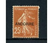 1931 - ANDORRA FRANCESE - 25 cent. GIALLO BRUNO - LINGUELLATO - LOTTO/23343