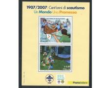 2007 - REPUBBLICA - 100 ANNI DI SCOUTISMO - FOGLIETTO NUOVO - LOTTO/25444