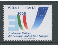2003 - REPUBBLICA - PRESIDENZA ITALIANA U.E. - NUOVO - LOTTO/25558