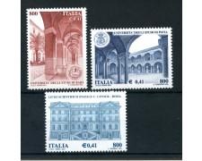 2001 - REPUBBLICA - SCUOLE E UNIVERSITA' 3v. - NUOVI - LOTTO/25678