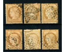 1871/75 - FRANCIA - 15 cent. BISTRO CERERE 6 ESEMPLARI - USATI - LOTTO/26117