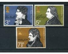 1971 - GRAN BRETAGNA - ANNIVERSARI LETTERARI 3v. - NUOVI - LOTTO/26325