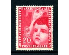 1937 - REGNO - 20c. MOSTRA COLONIE ESTIVE - NUOVO - LOTTO/26366