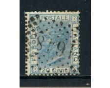 1867 - REGNO - 20 cent. CELESTE VITTORIO EMANUELE II° USATO - LOTTO/26403