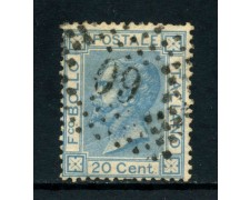 1867 - REGNO - 20 cent. CELESTE VITTORIO EMANUELE II° USATO - LOTTO/26404