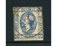 1863 - REGNO - 15c. AZZURRO II° TIPO VITTORIO EMANUELE II° - USATO - LOTTO/26416