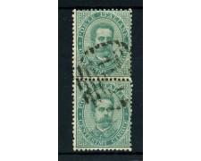 1879 - REGNO - 5 cent. VERDE RE UMBERTO I° - COPPIA  USATA - LOTTO/26422