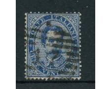 1879 - REGNO - 25 cent. AZZURRO RE UMBERTO I° - USATO - LOTTO/26429