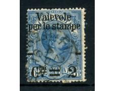 1890 - REGNO - 2cent. su 20c.  AZZURRO - PACCHI SOPRASTAMPATI - USATO - LOTTO/26435