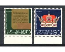 1971 - LIECHTENSTEIN - ANNIVERSARIO COSTITUZIONE 2v. - NUOVI - LOTTO/26444