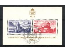 1972 - LIECHTENSTEIN - ESPOSIZIONE FILATELICA LIBA - FOGLIETTO ANNULLO EXPO - LOTTO/26448
