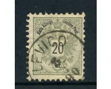 1883 - AUSTRIA - 20 K. GRIGIO LILLA - USATO - LOTTO/26769