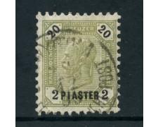 1891/1896 - AUSTRIA LEVANTE - 2PIASTRE SU 20 K. VERDE  - USATO - LOTTO/26776
