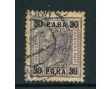 1907/08 - AUSTRIA LEVANTE - 30  pa. VIOLETTO - USATO - LOTTO/26778