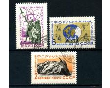 1961 - RUSSIA - FORUM DELLA GIOVENTU' 3v. - USATI - LOTTO/26916