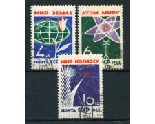 1963 - RUSSIA - DISARMO 3v. - USATI - LOTTO/26926