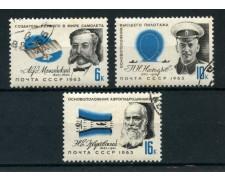 1963 - RUSSIA - CELEBRITA' DELL'AERONAUTICA 3v. - USATI - LOTTO/26930