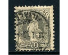 1882 - SVIZZERA - 40c. GRIGIO  ALLEGORIA - USATO - LOTTO/27046