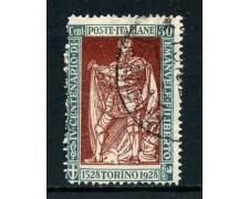 1928 - REGNO - 25c. EMANUELE FILIBERTO DENT. 13,5 - USATO - LOTTO/27060