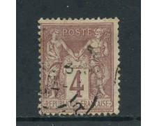 1877 - FRANCIA - 4 c. LILLA BRUNO  - USATO - LOTTO/27070