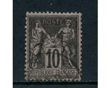 1877 - FRANCIA - 10 c. NERO su LILLA  - USATO - LOTTO/27071