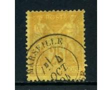 1879 - FRANCIA - 25c. GIALLO BISTRO - USATO A MARSIGLIA - LOTTO/27073