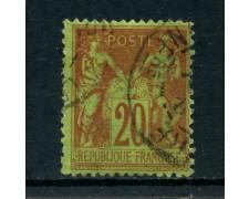 1884 - FRANCIA - 20 c. ROSSO SU VERDE - USATO - LOTTO/27076