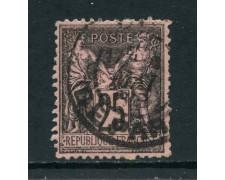 1886 - FRANCIA - 25 c. NERO SU ROSSO - USATO - LOTTO/27077