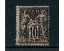 1898 - FRANCIA - 10 c. NERO SU LILLA - USATO - LOTTO/27080