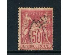 1900 - FRANCIA - 50 c. ROSA I° TIPO - USATO - LOTTO/27081