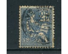 1900 - FRANCIA - 25c. AZZURRO ALLEGORIA MOUCHON I° TIPO - USATO - LOTTO/27083