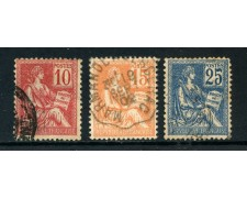 1900 - FRANCIA -  ALLEGORIA MOUCHON II° TIPO 3v.  - USATI - LOTTO/27085